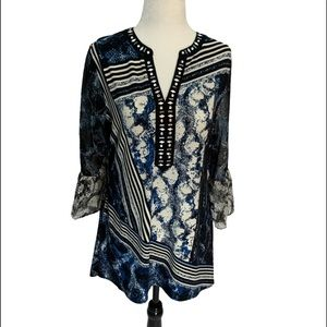 Style & Co💙Blue Tunic Top Split Neck Bell Sleeves